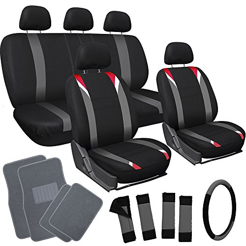 OxGord 21pc Black, Gray & Red Flat Cloth Seat Cover and Carpet Floor Mat Set for the Ford Crown Victoria Sedan, Airbag Compatible, Split Bench, Steering Wheel Cover Included (Steering Wheel Crown Victoria compare prices)