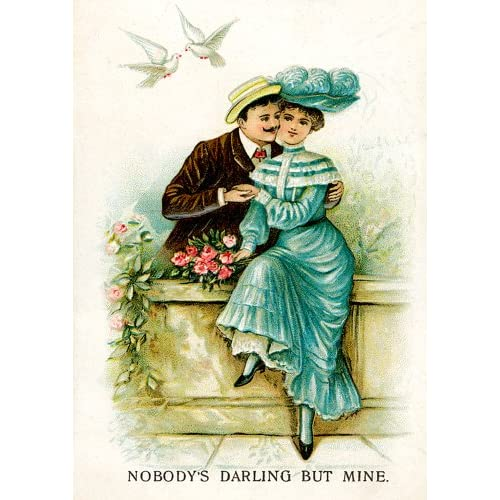 Vintage Lovers on Garden Wall for Valentines Day Cards School Package