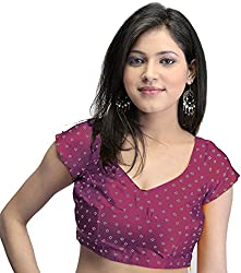 Exotic India Bollywood Printed Bandhej Choli with Dori Back - Color PurpleGarment Size Small