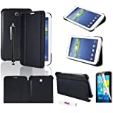 "HOTSALEUK Samsung Galaxy Tab 3 7.0 7-inch Leather Case Cover and Flip Stand, Bonus: Screen Protector + Stylus Pen (for Galaxy Tab 3 7"" INCH P3200/ P3210, WiFi or 3G+WiFi), by hotasleuk Store®, Seller of Best Selling Galaxy Tab 2 7-inch Case (BLACK)"