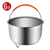 Steamer Basket for 6 or 8 Quart Instant Pot Pressure Cooker, Sturdy Stainless Steel Steamer Insert with Silicone Covered Handle, Great for Steaming Vegetables Fruits Eggs