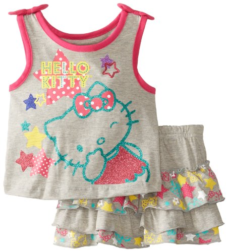 Hello Kitty Baby-Girls Infant Glitter Top With Ruffled Skirt, Grey Heather, 12 Months front-109065