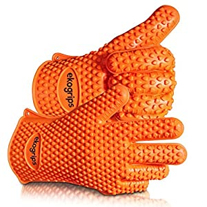 Highest Rated Heat Resistant Silicone BBQ Gloves L/XL - The Original Ekogrips - 3 Sizes Available