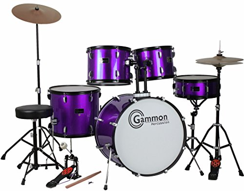 purple-5-piece-drum-set-with-cymbals-stands-hardware-stool-and-sticks-full-adult-size-complete