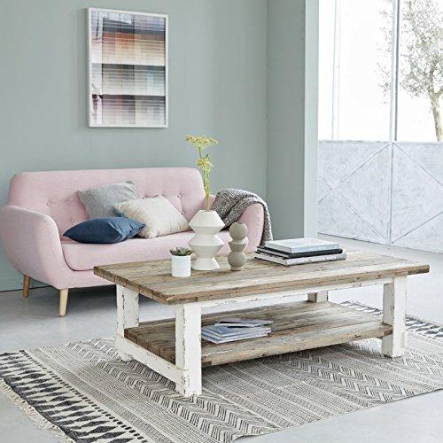 Table basse en bois de pin recyclé - 140 x 80 cm - Double plateau - ATLANTIC