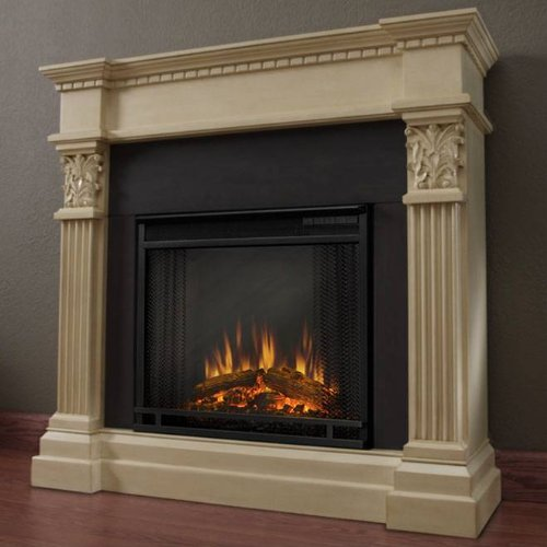 The Herod Ornate Ventless Electric Indoor Fireplace - Antique White picture B007V64674.jpg