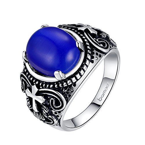 Bamoer Retro Copper Plating Silver Opal Finger Rings Jewelry For Men Women (7)