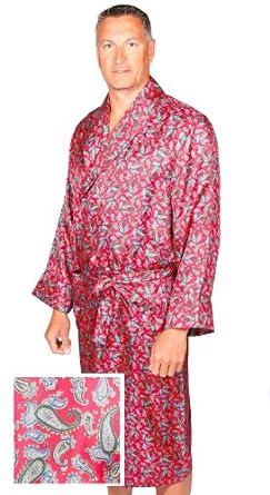 robe de chambre en soie paisley rouge bleu homme peignoir v tements et. Black Bedroom Furniture Sets. Home Design Ideas