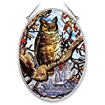 Amia Hand Painted Glass Suncatcher with Owl Design, 5-1/4-Inch by 7-Inch Oval