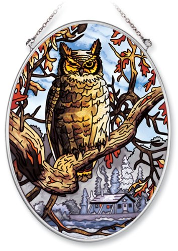 Amia Hand Painted Glass Suncatcher with Owl Design, 5-1/4-Inch by 7-Inch Oval 0
