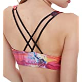 Icyzone Women's Workout Yoga Clothes Strappy Crisscross Printed Racerback Sports Bras