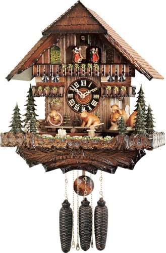 River City Clocks MD878-16 Eight Day Musical Cuckoo Clock with Dancers, Bears Seesaw And Revolve On Turntable, 16-Inch Tall