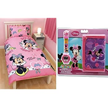 pas cher montre portefeuille parure housse de couette lit minnie disney chambre enfant. Black Bedroom Furniture Sets. Home Design Ideas