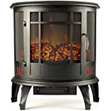 Regal Electric Fireplace - e-Flame USA 22 Inch Black Portable Electric Fireplace Stove with 1500W Space Heater. Realistic Flame and Log. Vintage Design for Corners