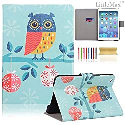 iPad Air Case,iPad 5 Case - LittleMax(TM) Slim [Card Slot] Flip Leather Case [Auto Sleep/Wake Feature] *Stand Case Cover* for iPad Air / iPad 5 [Free Cleaning Cloth,Stylus Pen]--#1Adorable Owl