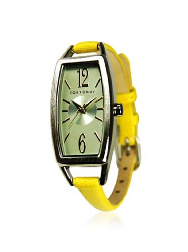 tokyobay-femme-levere-slim-cuir-bet-rectangulaire-face-montre-in-jaune