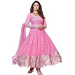RajLaxmi Women's Fashion Pink Georgette Dress Material