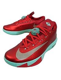 Nike Men's KD VI, Christmas-LIGHT CRIMSON/MTLC GOLD-GREEN GLOW, 9 M US