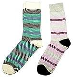 Fine Fit Mens Stripe Colorful Cotton Socks (2 Pair)