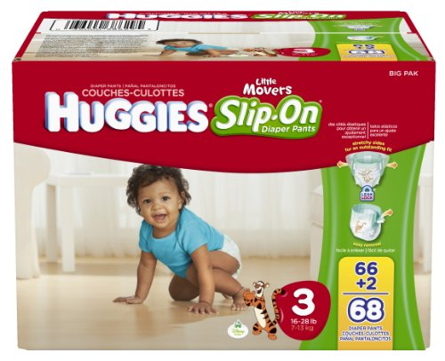 Huggies Little Movers Slip-On Diapers, Size 3,