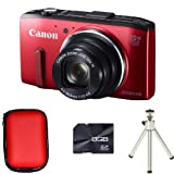Canon PowerShot SX280 HS Compact Digital Camera - Red + Case + 8GB Card amd Tripod (12.1MP, 20x Optical Zoom) 3 inch LCD