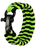 The Friendly Swede (TM) Trilobite Extra Beefy / Wide 500 lb Paracord Survival Bracelet With Stainless Steel Black Bow Shackle - Adjustable Size Fits 7-8 Inch Wrists - In Retail Packaging - Lifetime Warranty (Light Green + Black)