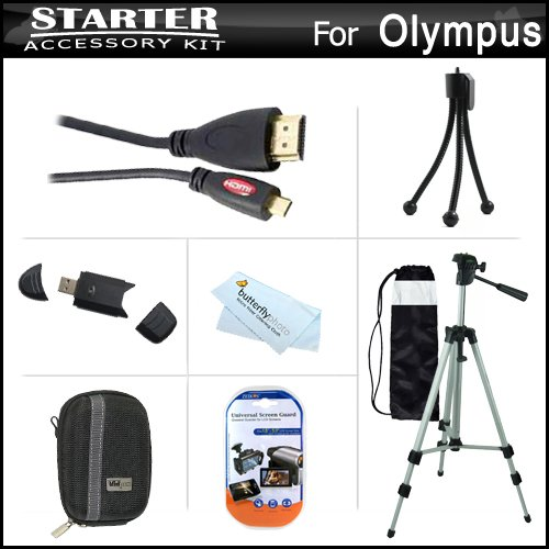 Starter Accessories Kit For The Olympus Stylus Sz-15 Digital Camera Includes Deluxe Carrying Case + 50 Tripod With Case + Mini Hdmi Cable + Usb 2.0 Card Reader + Lcd Screen Protectors + Mini Tabletop Tripod + Microfiber Cleaning Cloth