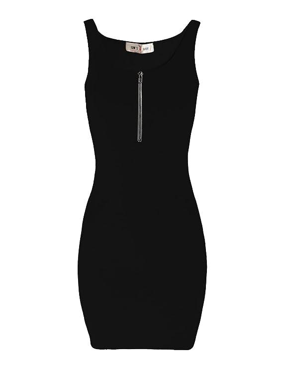 Tom's Ware Women Classic Slim Fit Zip Tank Bodycon Mini Tee Dress