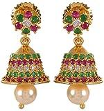 Violet & Purple Gold Alloy Jhumki Earrings for Women (1000031064)
