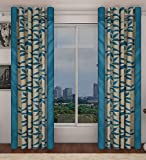 "Home Candy Eyelet Fancy Polyester 2 Piece Door Curtain Set - 84""x48"", Blue (SOE-CUR-174_174)"