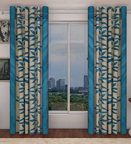 """Home Candy Eyelet Fancy Polyester 2 Piece Door Curtain Set - 84""""x48"""", Blue (SOE-CUR-174_174)"""