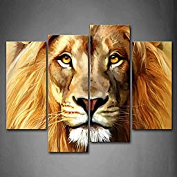 Canval prit painting Brown Lion Head Portrait The Picture Print On Canvas Animal Pictures