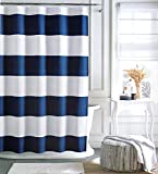 "Tommy Hilfiger Cabana Stripe Shower Curtain - Navy Blue and White -72"" X 72"""