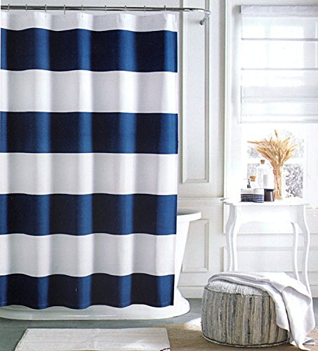 Tommy Hilfiger Cabana Stripe Shower Curtain   Navy Blue And White  72