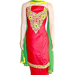 Reet Glamour Women 's Cotton Unstitched Red With Green Contrasted Punjabi Suit