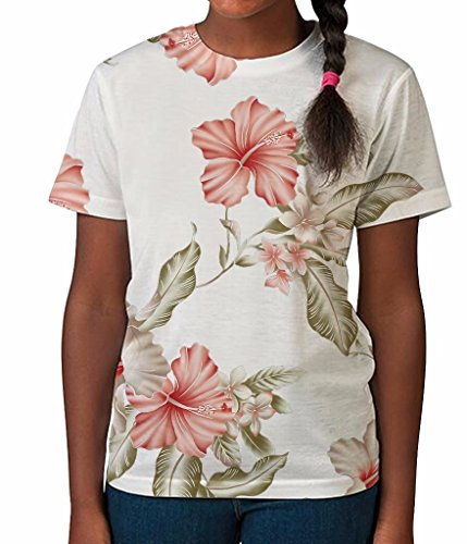 White Hibiscus Floral Fun Pattern Summer Holiday Girls Unisex Kids Child T Shirt