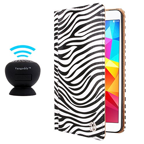 Vangoddy Mary Portfolio Wild Black White Zebra Multi Purpose Book Style Slim Flip Cover Case For Samsung Galaxy Tab 4 8.0' Android + Black Microphone Mini Suction Bluetooth Speaker