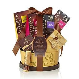 Godiva Chocolatier Signature Basket with Classic Ribbon, 7 Count