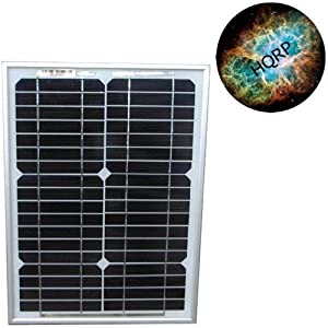 HQRP 12W (Size of 10 Watt / 10W) Mono-crystalline Solar Panel 12 Watt 12 Volt in Anodized Aluminum Frame plus HQRP Coaster