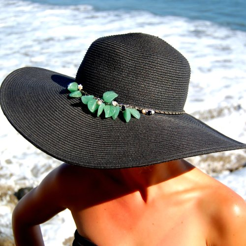 01003 Dasheka Co. Women's Wide Brim Hat (Black) -- BELIZE Aventurine, Pearls & Black Onyx01003 Dasheka Co. Women's Wide Brim Hat (Black) -- BELIZE Aventurine, Pearls & Black Onyx