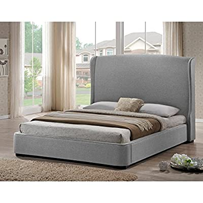 Baxton Studio Sheila Linen Modern Bed with Upholstered Headboard