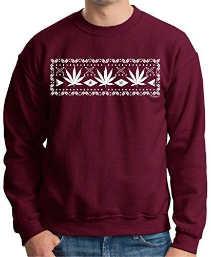 Marijuana, Weed Ugly Christmas Sweater Premium Crewneck Sweatshirt Xxx-Large Maroon