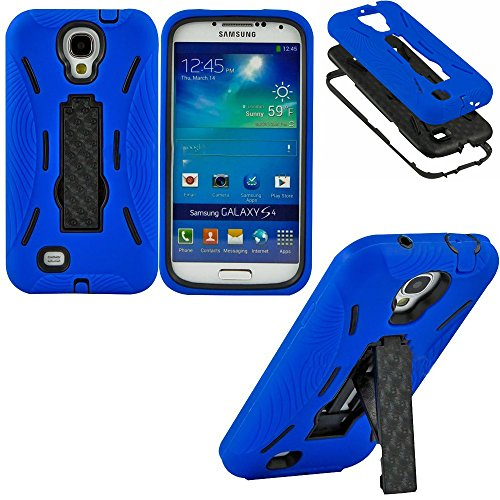 """Mylife Royal Blue + Black Shockproof Survivor (Built In Kickstand) Case For The Samsung Galaxy S4 Phone """"Fits Models: I9500, I9505, Sph-L720, Galaxy S Iv, Sgh-I337, Sch-I545, Sgh-M919, Sch-R970 And Galaxy S4 Lte-A Touch Phone"""" (Dual Layer Thick External S"""