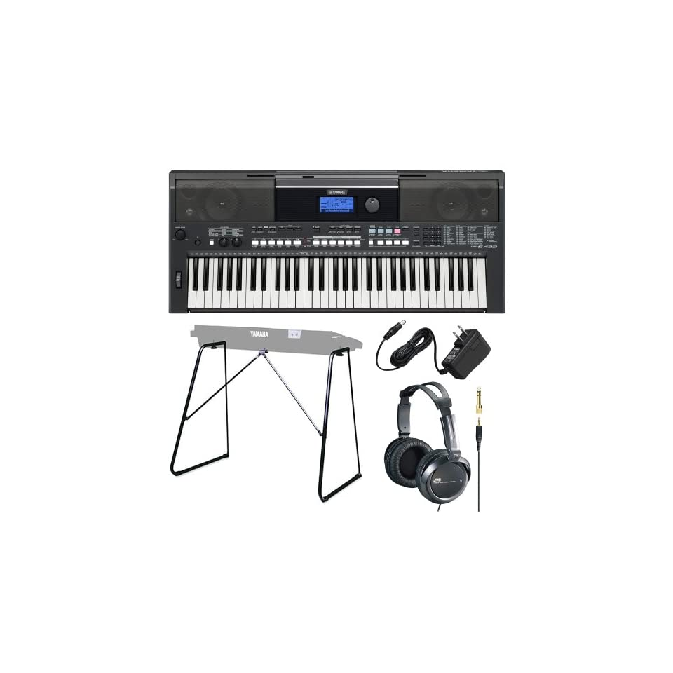 Yamaha PSR Series PSRE433 61 Key Portable Keyboard Bundle with Attachable Keyboard Stand, Yamaha Power Adaptor and JVC Full size Headphones Musical Instruments