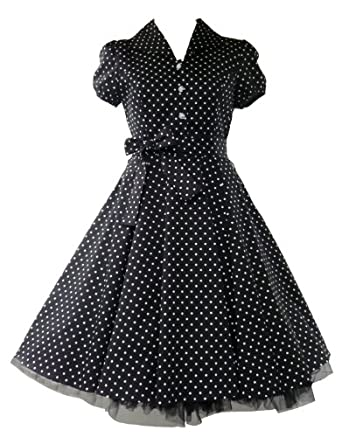 50's Tea Party Small Polka Dot Dress Black & White - UK 18
