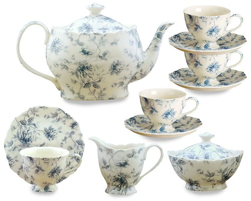 Learn More About Gracie China Blue Rose Chintz 11-Piece Tea Service, 4-Cup Teapot Sugar Creamer and ...