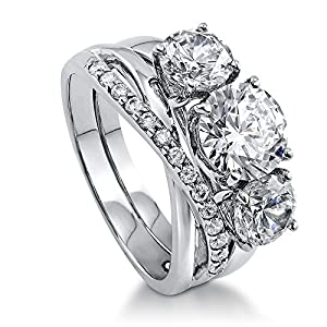 BERRICLE Rhodium Plated Sterling Silver Cubic Zirconia CZ 3-Stone Criss Cross Ring Set Size 8