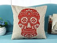 Jastore® Cotton Linen Halloween Red Skull Throw Pillow Case Decorative Cushion Cover Pillowcase