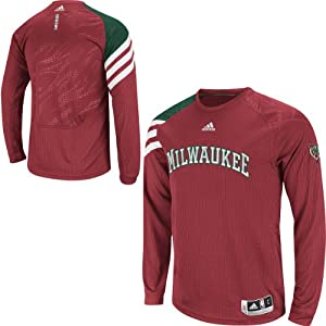 NBA adidas Milwaukee Bucks On-Court Long Sleeve Shooting Shirt by adidas