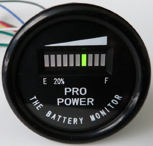 Pro12-48M Golf Cart Battery Indicator Ezgo Yamaha Club Car 12, 24, 36, 48 Vdc - Works On Trojan, Exide And All Batteries